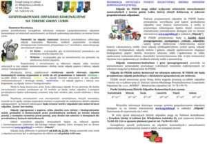 ulotka dotycząca gospodarowania odpadami komunalnymi na terenie gminy Lubin-1